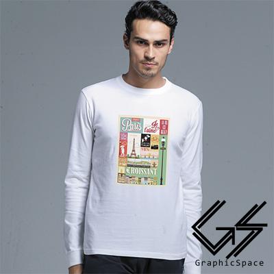 歐美街景小插圖磨毛水洗長袖T恤 (共三色)-GraphicSpace