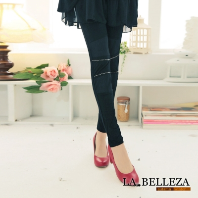 La Belleza迷人曲線貼鑽拼接網狀彈性內搭褲