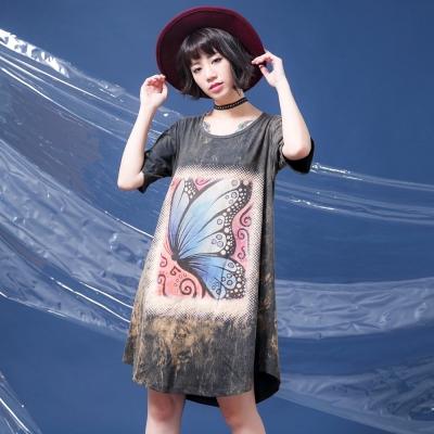 古著-仿舊感水洗布料藍色大蝴蝶漩渦水洗棉洋裝-La-Belleza