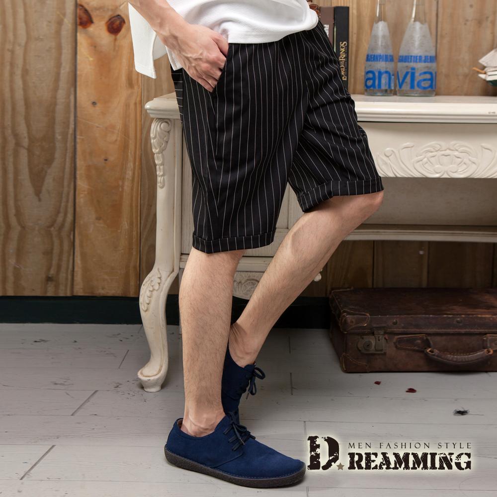 Dreamming 韓風迷人直條鬆緊抽繩休閒短褲-共二色 (黑色)