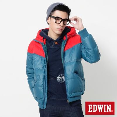 EDWIN 雙色立領帽可拆羽絨外套-男-紅色