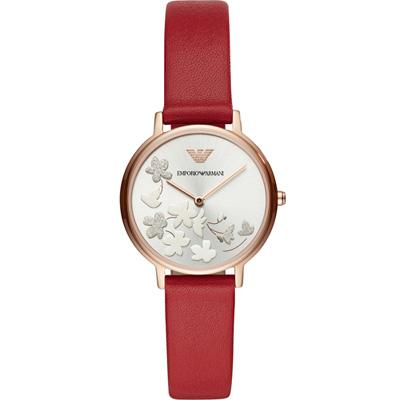 Armani 浪漫花語時尚腕錶(AR11114)紅/32mm