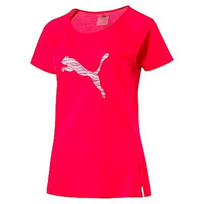 PUMA-女性慢跑系列跳豹短袖T恤-漿紅色-歐規