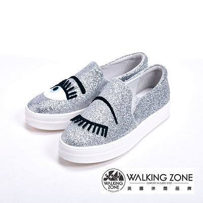 WALKING ZONE英倫經典圖案眨眼七彩亮片厚底鞋女鞋-銀