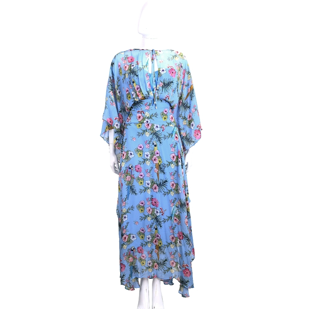 PINKO 藍色扶桑印花綁帶落地洋裝