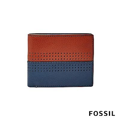 FOSSIL CODY撞色款真皮商務短夾-咖啡/藍