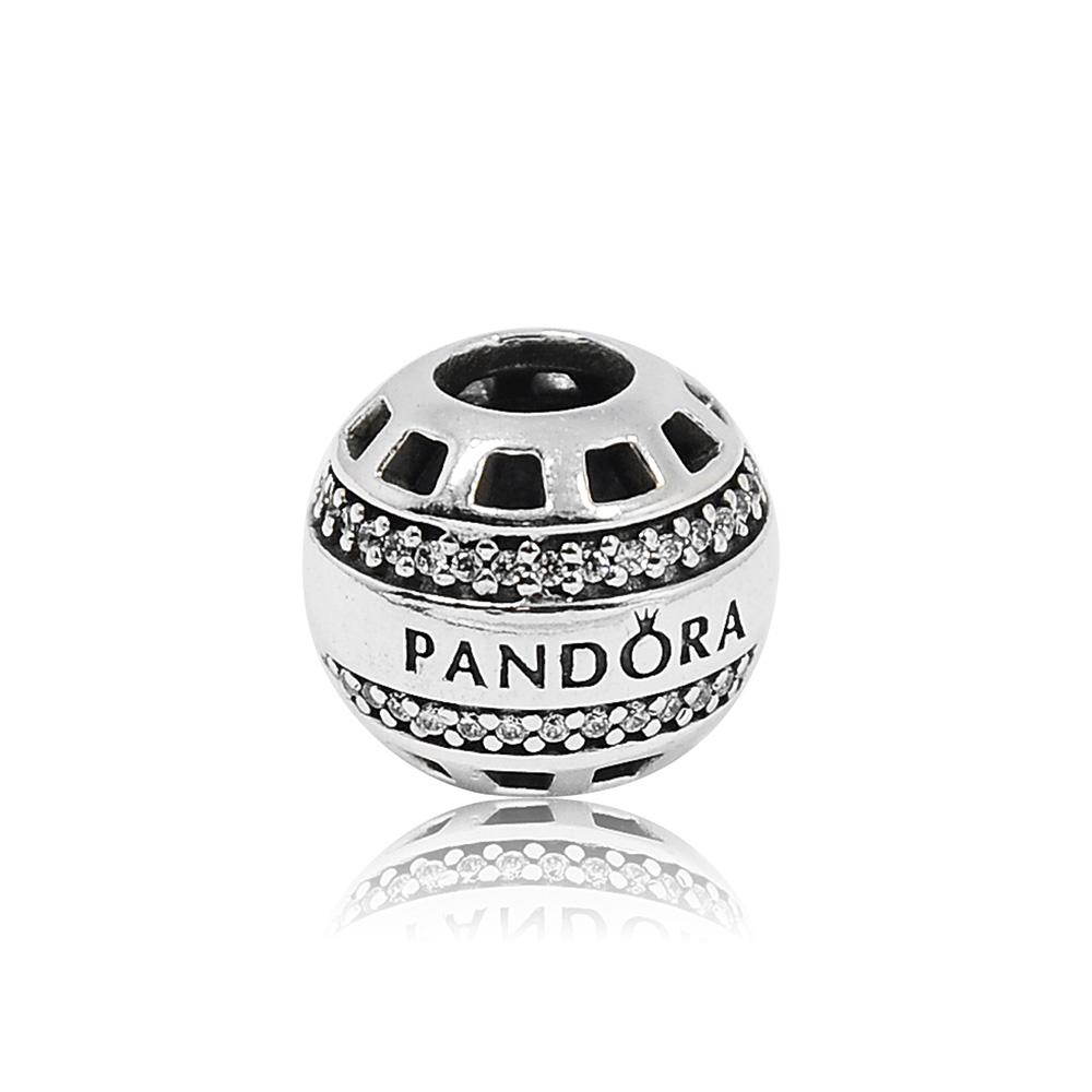 Pandora潘朵拉圓形鏤空鑲鋯PANDORA字母純銀墜飾串珠