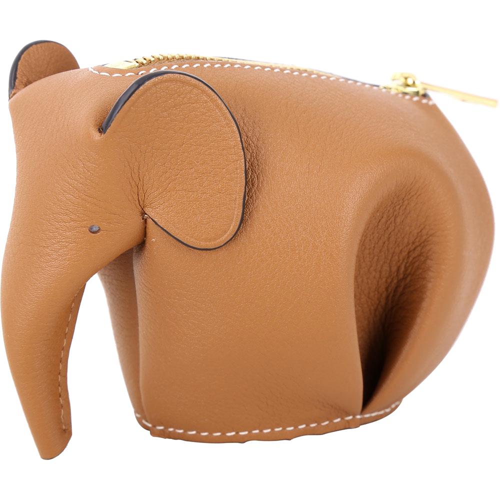 LOEWE Animales Elephant 立體大象造型拉鍊零錢包(駝棕色)