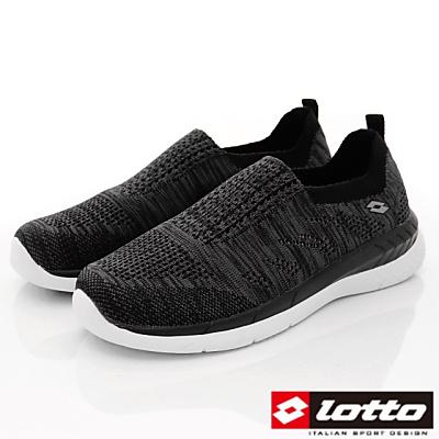 Lotto樂得-飛織輕走慢跑鞋-XFI900黑(女段)