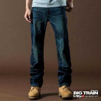 BIG TRAIN-袋蓋配布繡花垮褲-中藍