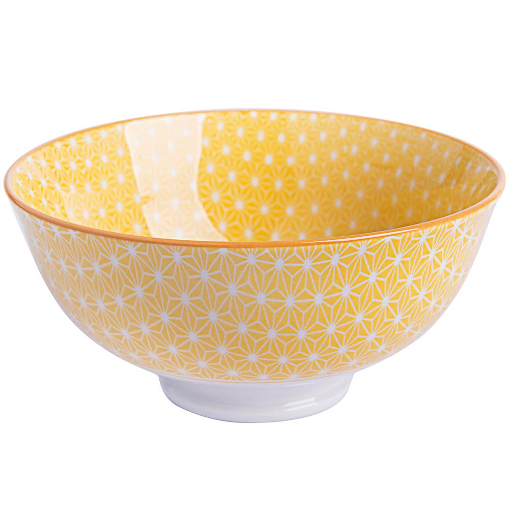 EXCELSA Oriented瓷餐碗(菱紋黃12cm)