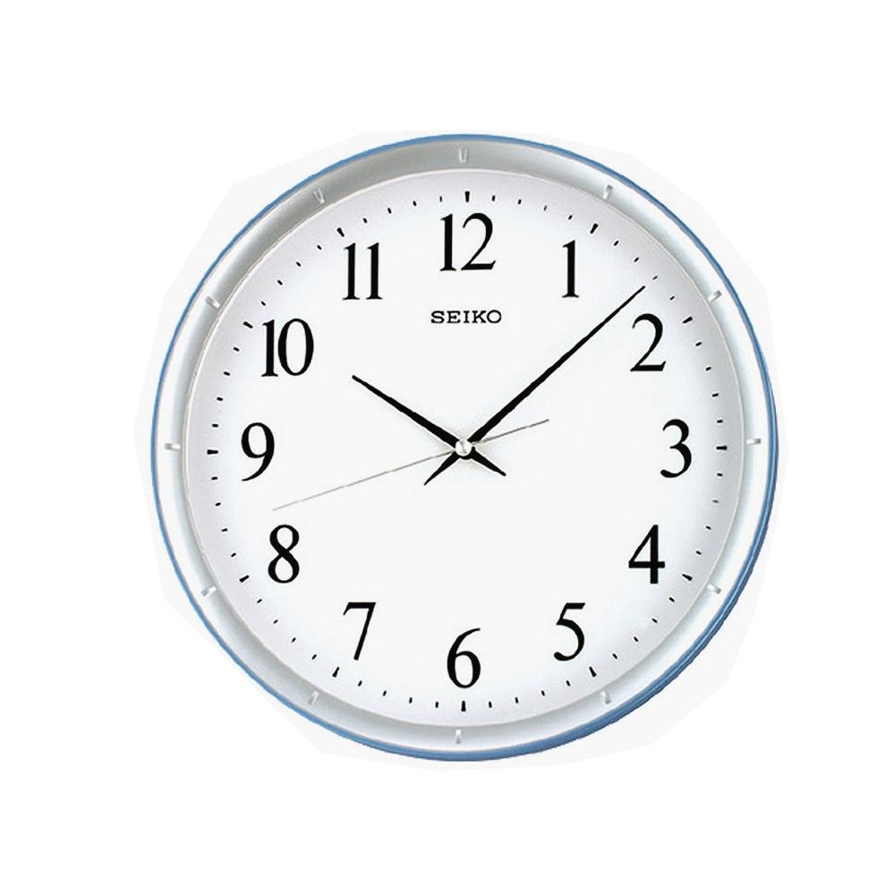 SEIKO 精工 水藍邊框 滑動式秒針 靜音掛鐘(QXA378L)-藍-白/31cm