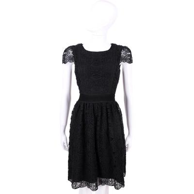 BLUGIRL 黑色織花設計短袖洋裝