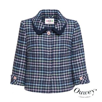 OUWEY歐薇-甜美彩格毛料外套-藍