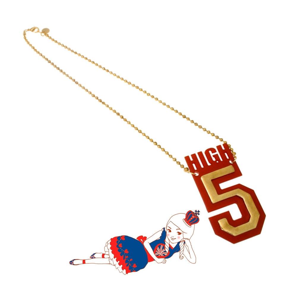 Anna Lou Of London倫敦品牌 HIGH 5紅金立體幸運數字項鍊