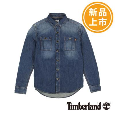 Timberland-男款丹寧藍素面雙口袋長袖牛仔