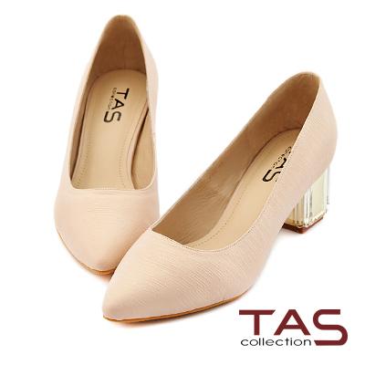 TAS-素面羊皮壓紋尖頭透明水晶跟鞋-輕裸膚