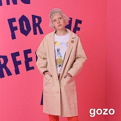 gozo 低調十字格紋長版造型外套(二色)