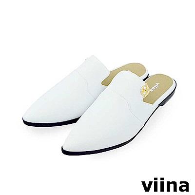 viina-質感尖頭平底穆勒鞋-白色