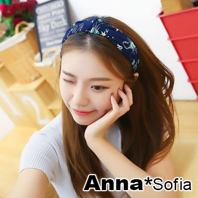 AnnaSofia-直紋布中央結-韓式寬髮箍-星座-藏藍系