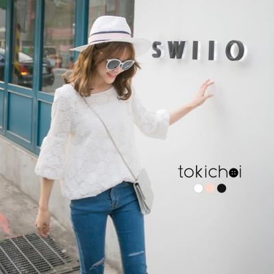 東京著衣 優雅蕾絲花朵袖口綁結上衣-S.M(共三色)