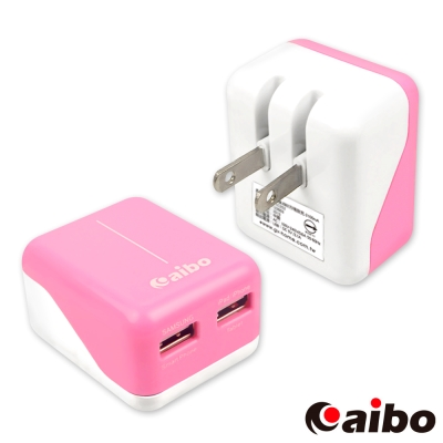aibo AC 轉 USB 2PORT 方塊充電器 3100mA - 粉紅