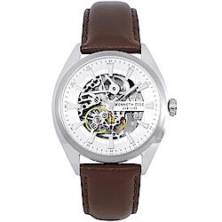 Kenneth Cole 典藏真皮鏤空機械手錶-銀白X咖啡/40mm
