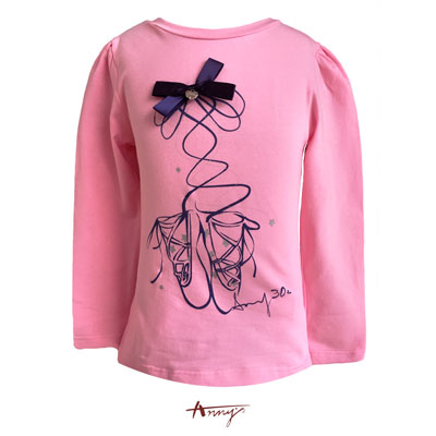 Annys芭蕾舞鞋金飾蝴蝶結長袖上衣*5422桃粉
