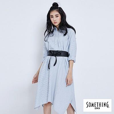 SOMETHING 簡約長洋裝襯衫-女-漂淺藍