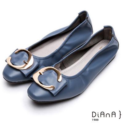 DIANA 樂活休閒--金屬C型釦方頭真皮平底鞋 -藍
