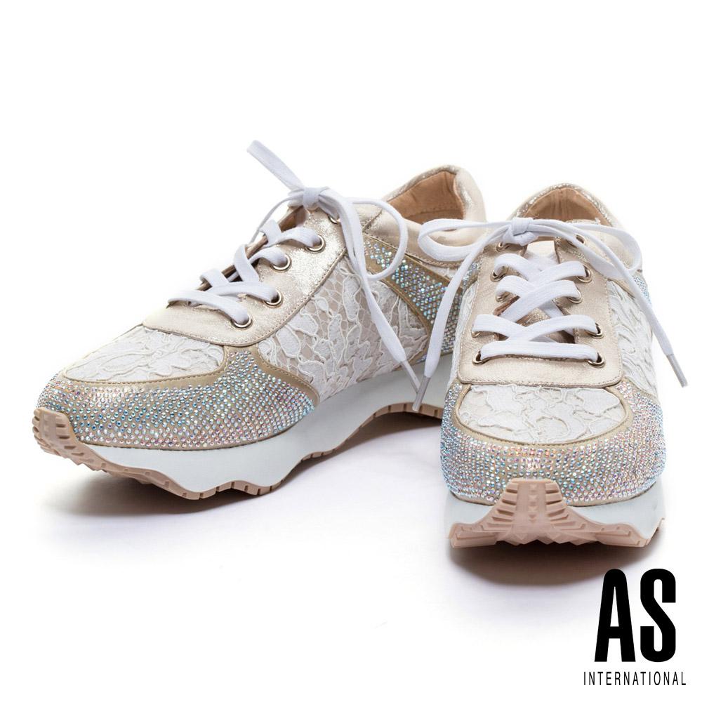 休閒鞋 AS 異材質拼接晶鑽蕾絲綁帶厚底休閒鞋-金