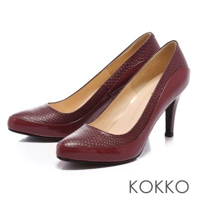KOKKO經典手工尖頭真皮拼接高跟鞋