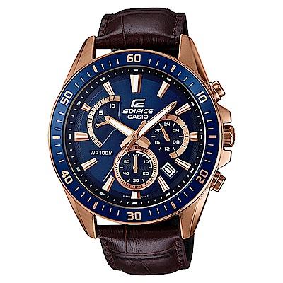 CASIO卡西歐 EDIFICE 賽車計時手錶-藍x咖啡