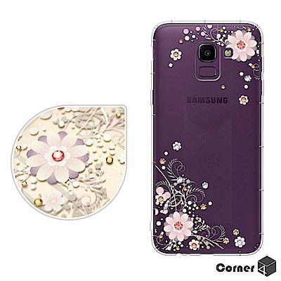 Corner4 Samsung Galaxy J6 奧地利彩鑽防摔手機殼-風鈴草