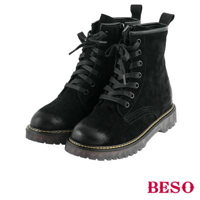 BESO 帥氣搖滾 漸舊擦色經典馬汀綁帶靴~黑