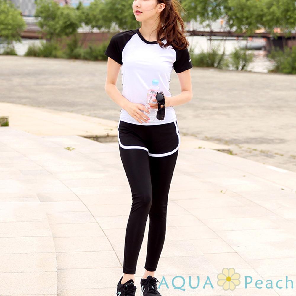 運動褲 混色滾邊短褲拼接假兩件長褲 (黑底白邊)-AQUA Peach