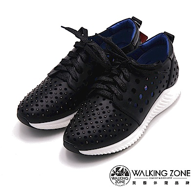 Walking ZONE-時尚流行綁帶洞洞透氣運動鞋-黑