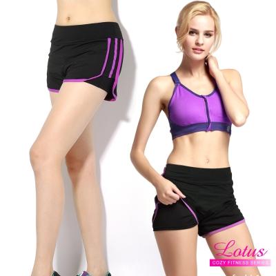 運動褲 雙層防走光玩色拼接彈力速乾運動短褲-優雅紫 LOTUS