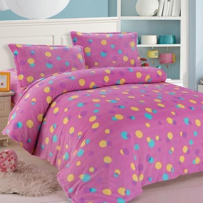 精靈工廠 優質法蘭絨雙人四件式床包被套組-點點繽紛