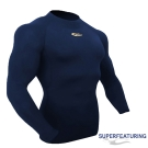 SUPERFEATURING 男女款 專業運動長袖 高領緊身衣 深藍- 快速到貨