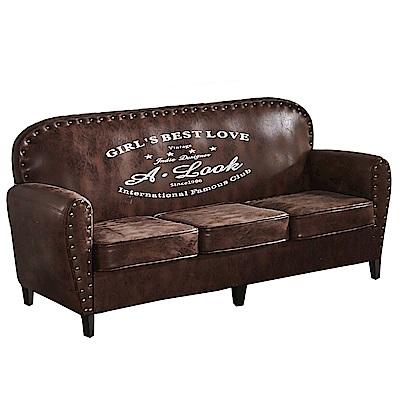 AT HOME-奧斯卡美式仿舊鉚釘三人布沙發(178*70*86cm)