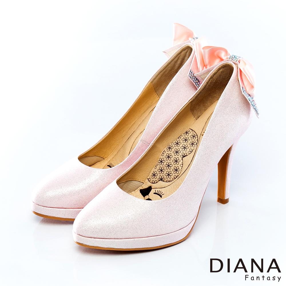 DIANA 超厚切LADY--浪漫水鑽蝴蝶結新娘跟鞋-粉