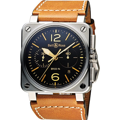 Bell & Ross Golden Heritage 軍事飛行機械計時腕錶-42mm