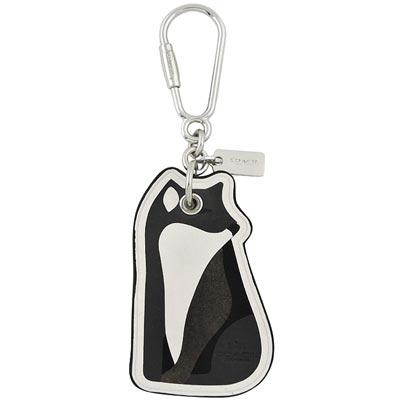 COACH 銀灰色狐狸造型皮革鑰匙圈