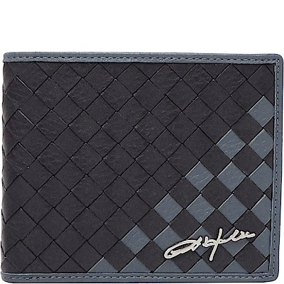OBHOLIC 黑色藍色編織義大利牛皮 短夾 皮夾 錢包