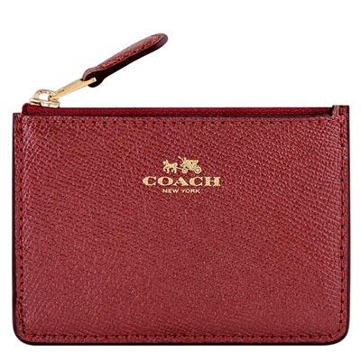 COACH 紅色金屬光澤防刮皮革鑰匙零錢包