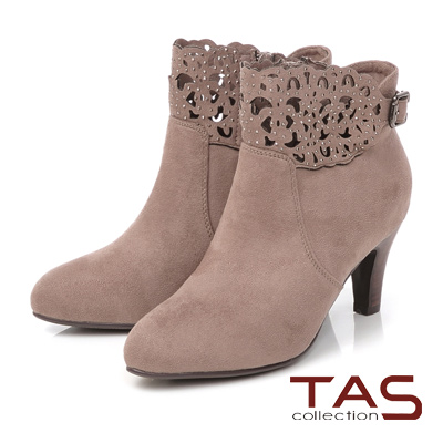 TAS 鏤空雕花水鑽麂皮高跟短靴-質感可可
