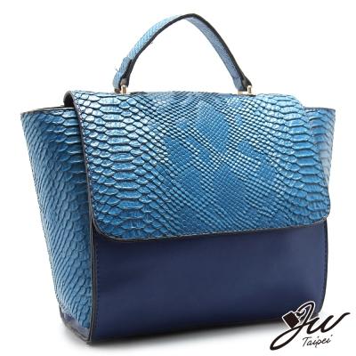 JW-魅惑梅杜莎鱷魚壓紋手提肩背兩用包-海軍藍-快