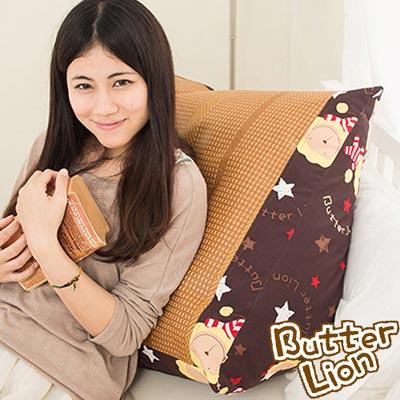 【奶油獅】正版授權-搖滾星星紙纖舒涼三角靠墊-咖啡(一入)