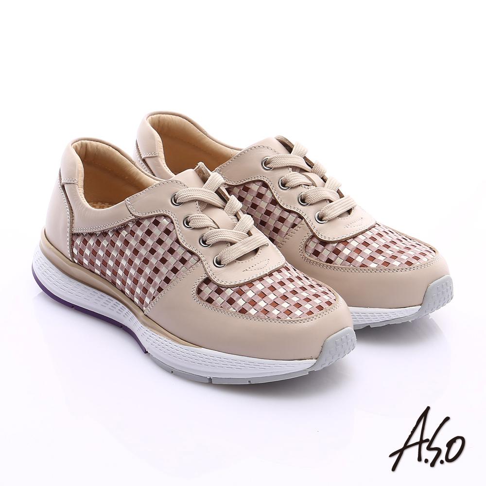 A.S.O 時尚風潮 真皮編織布料奈米綁帶休閒鞋 卡其